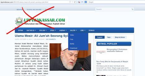Situs Wahhabi fitnah Ulama Sunni