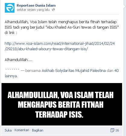 fanpage wahhabi garis keras bersyukur atas dihapus berita di situs wahhabi voa-islam