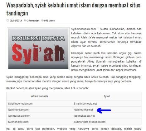 Web Syiahindonesia.com Salah Sebut Situs