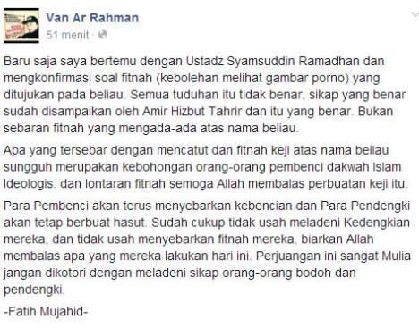 syamsuddin ramadhan memilih berbohong