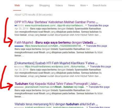 Bukti di Google tulisan Fathi Mujahid 1