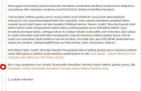 Tulisan yang ditandai lingkaran merah adalah tulisan yang ditambahkan kemudian, setelah Syamsuddin Ramadhan membuat tulisan panjang lebar hanya ingin diakui sebagai perkara khilafiyah.