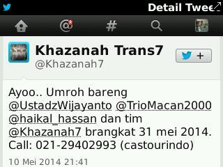 akun Khazanah Trans7 promo umroh bareng TrioMacan?