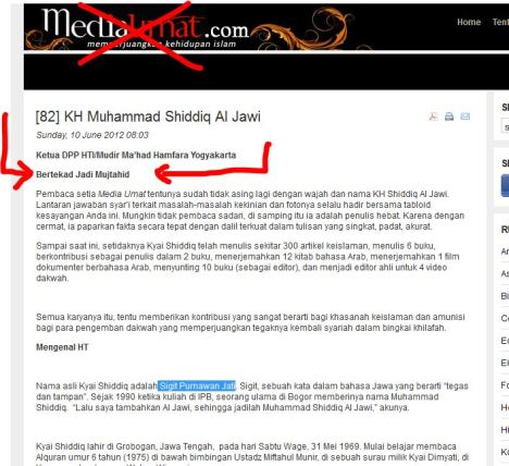 M Shiddiq Al Jawi nama asli  Sigit Purnawan Jati bertekad jadi Mujtahid