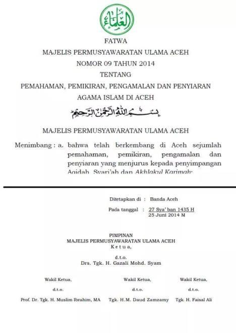MPU Aceh Fatwa Sesat Salafi-Wahabi
