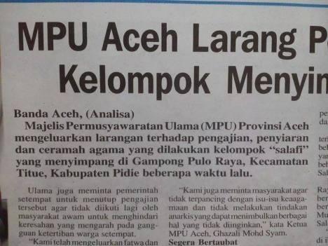 MPU Aceh Larang kelompok Wahhabi