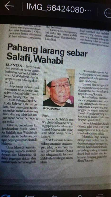 Pahang Larang Sebar Paham Salafi Wahhabi